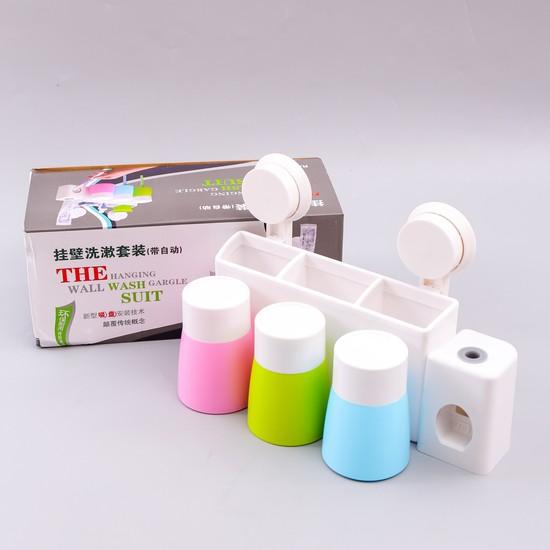 Bộ giá treo hộp đựng bàn chải đánh răng kèm cốc hút chân không nhiều màu sắc