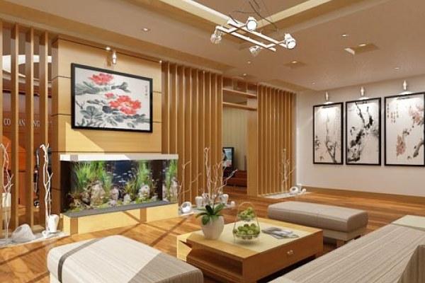 Bể cá phong thủy trong phòng khách