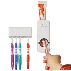 Bộ sản phẩm bao gồm 1 hộp đựng kem đánh răng tự động và 1 giá để bàn chải đánh răng