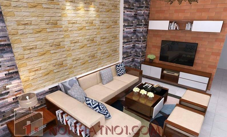 Bàn ghế sofa gỗ phòng khách nhỏ cao cấp nhất