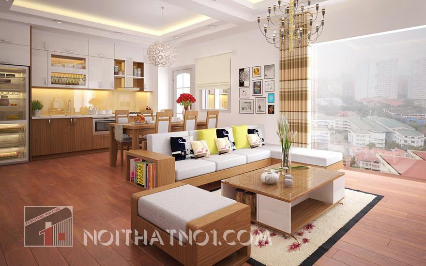 Trang trí nội thất phòng khách ấn tượng với mẫu sofa gỗ đẹp