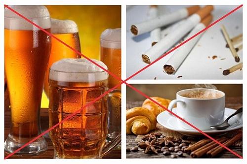Hút thuốc, sử dụng các chất có hại cho cơ thể, bao gồm: rượu bia, thuốc lá, cà phê,