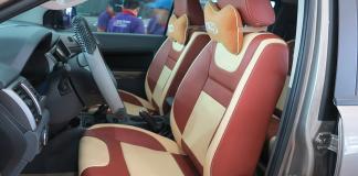 Mẫu bọc ghế màu đỏ kết hợp với màu sữa