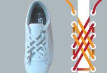 Thắt dây giày 2 màu kiểu mắt cáo